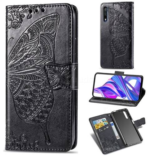 Embossing Mandala Flower Butterfly Leather Wallet Case for Huawei Honor 9X - Black