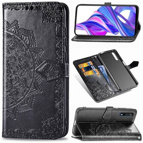 Embossing Imprint Mandala Flower Leather Wallet Case for Huawei Honor 9X - Black