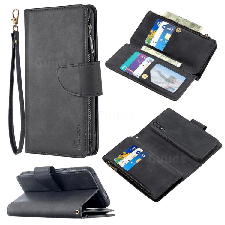 Binfen Color BF02 Sensory Buckle Zipper Multifunction Leather Phone Wallet for Huawei Honor 9X - Black
