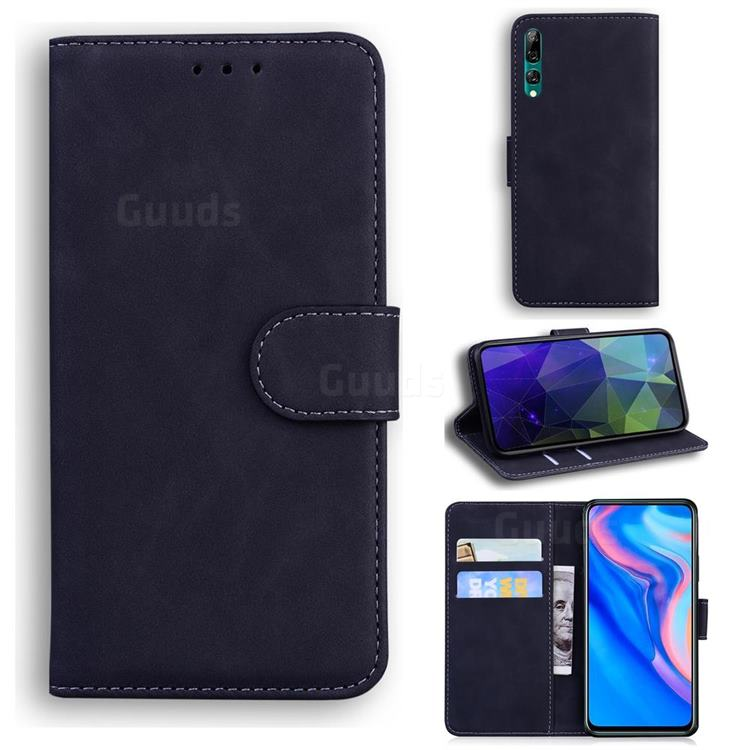 Retro Classic Skin Feel Leather Wallet Phone Case for Huawei Honor 9X - Black