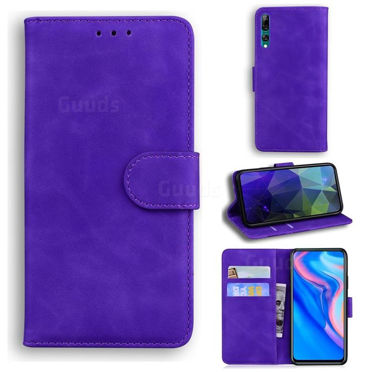 Retro Classic Skin Feel Leather Wallet Phone Case for Huawei Honor 9X - Purple