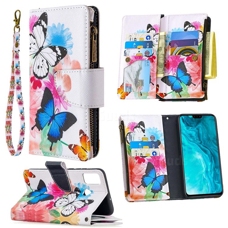 Vivid Flying Butterflies Binfen Color BF03 Retro Zipper Leather Wallet Phone Case for Huawei Honor 9X Lite