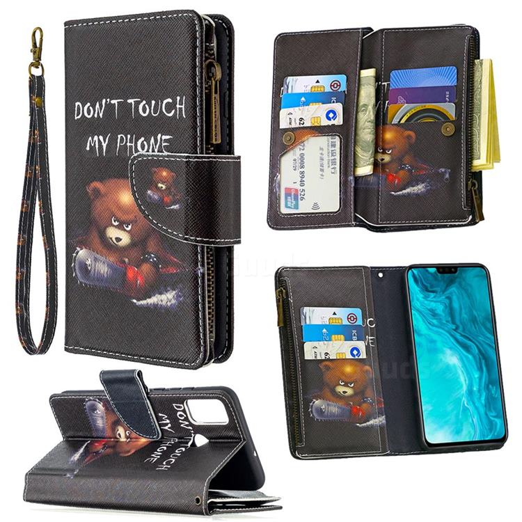 Chainsaw Bear Binfen Color BF03 Retro Zipper Leather Wallet Phone Case for Huawei Honor 9X Lite