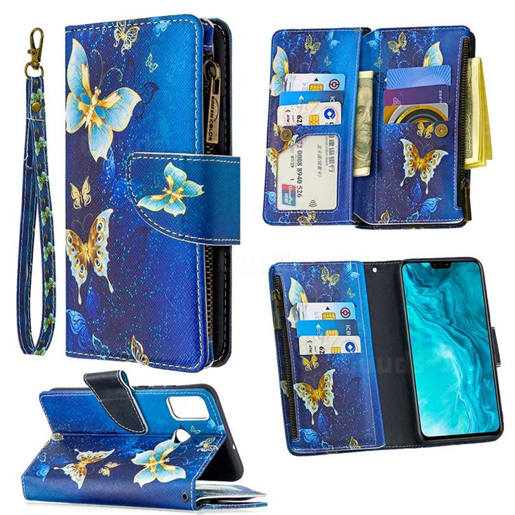 Golden Butterflies Binfen Color BF03 Retro Zipper Leather Wallet Phone Case for Huawei Honor 9X Lite