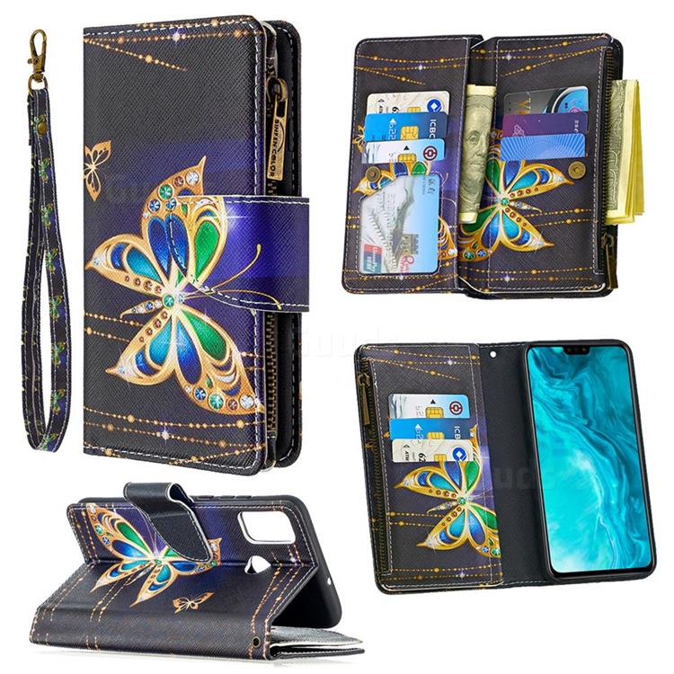 Golden Shining Butterfly Binfen Color BF03 Retro Zipper Leather Wallet Phone Case for Huawei Honor 9X Lite