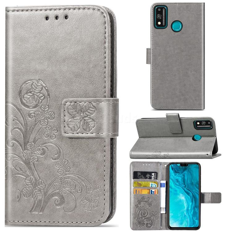Embossing Imprint Four-Leaf Clover Leather Wallet Case for Huawei Honor 9X Lite - Grey