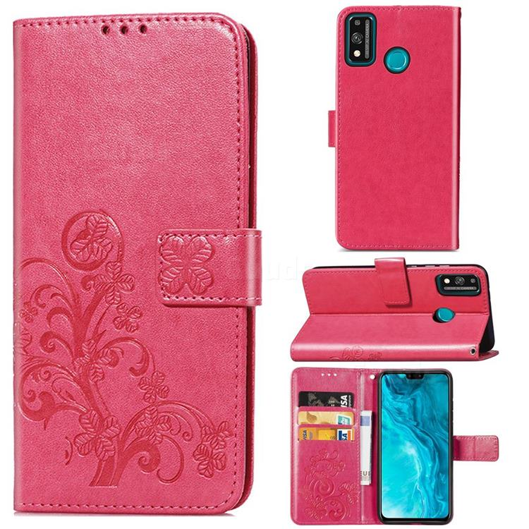 Embossing Imprint Four-Leaf Clover Leather Wallet Case for Huawei Honor 9X Lite - Rose Red