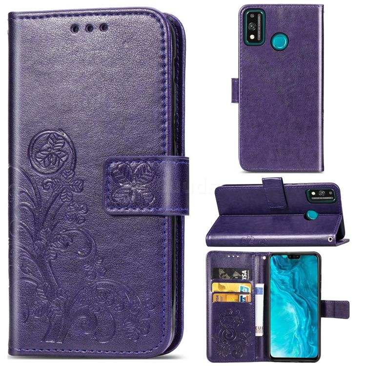 Embossing Imprint Four-Leaf Clover Leather Wallet Case for Huawei Honor 9X Lite - Purple