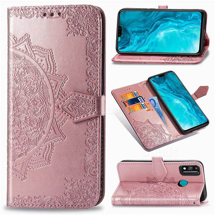 Embossing Imprint Mandala Flower Leather Wallet Case for Huawei Honor 9X Lite - Rose Gold