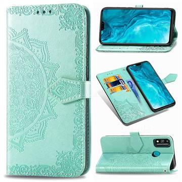 Embossing Imprint Mandala Flower Leather Wallet Case for Huawei Honor 9X Lite - Green