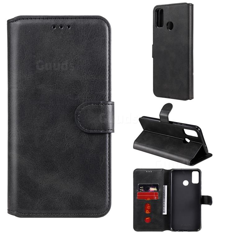 Retro Calf Matte Leather Wallet Phone Case for Huawei Honor 9X Lite - Black