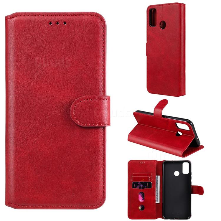 Retro Calf Matte Leather Wallet Phone Case for Huawei Honor 9X Lite - Red