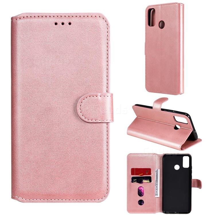Retro Calf Matte Leather Wallet Phone Case for Huawei Honor 9X Lite - Pink