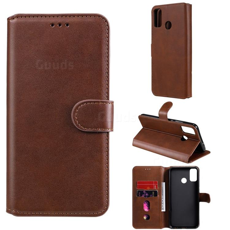 Retro Calf Matte Leather Wallet Phone Case for Huawei Honor 9X Lite - Brown