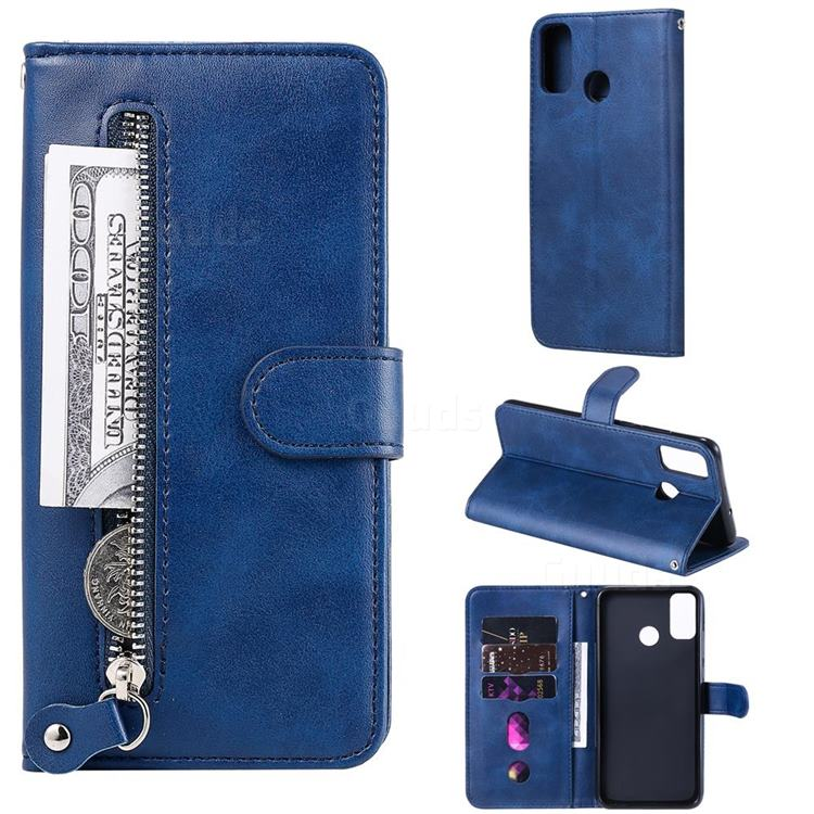 Retro Luxury Zipper Leather Phone Wallet Case for Huawei Honor 9X Lite - Blue