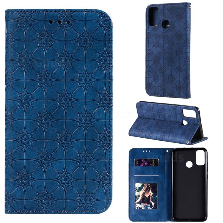 Intricate Embossing Four Leaf Clover Leather Wallet Case for Huawei Honor 9X Lite - Dark Blue