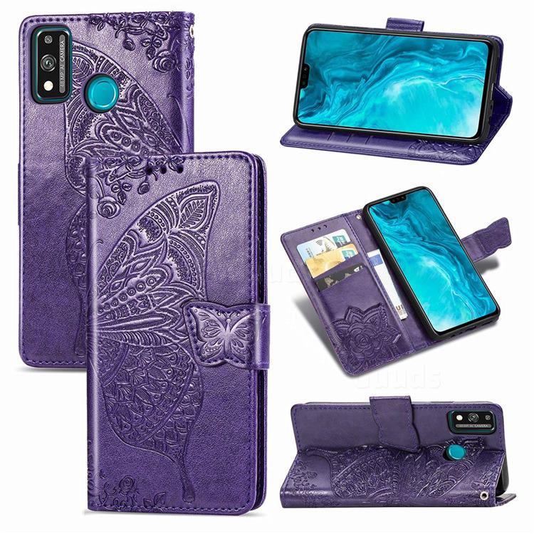 Embossing Mandala Flower Butterfly Leather Wallet Case for Huawei Honor 9X Lite - Dark Purple