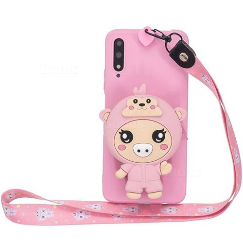 Pink Pig Neck Lanyard Zipper Wallet Silicone Case for Huawei Honor 9X Pro