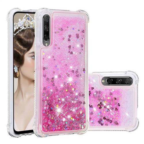 Dynamic Liquid Glitter Sand Quicksand TPU Case for Huawei Honor 9X Pro - Pink Love Heart