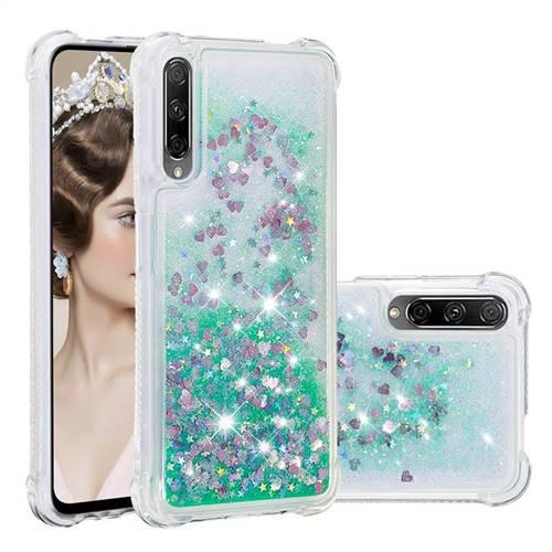 Dynamic Liquid Glitter Sand Quicksand TPU Case for Huawei Honor 9X Pro - Green Love Heart