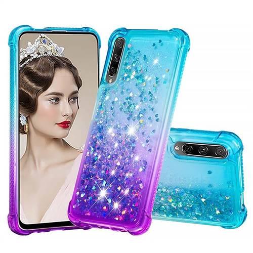 Rainbow Gradient Liquid Glitter Quicksand Sequins Phone Case for Huawei Honor 9X Pro - Blue Purple