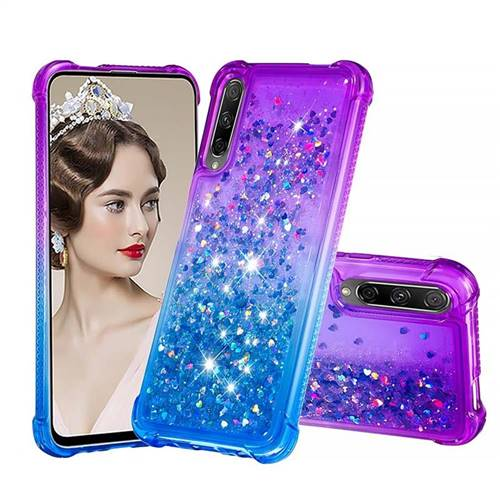 Rainbow Gradient Liquid Glitter Quicksand Sequins Phone Case for Huawei Honor 9X Pro - Purple Blue