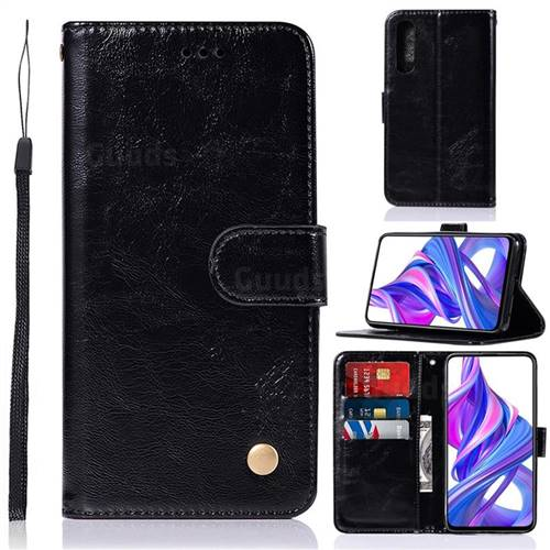 Luxury Retro Leather Wallet Case for Huawei Honor 9X Pro - Black