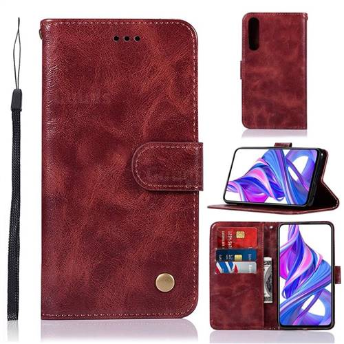 Luxury Retro Leather Wallet Case for Huawei Honor 9X Pro - Wine Red