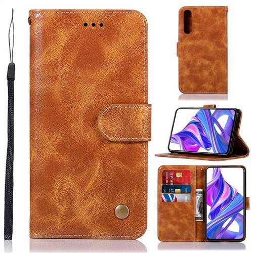Luxury Retro Leather Wallet Case for Huawei Honor 9X Pro - Golden
