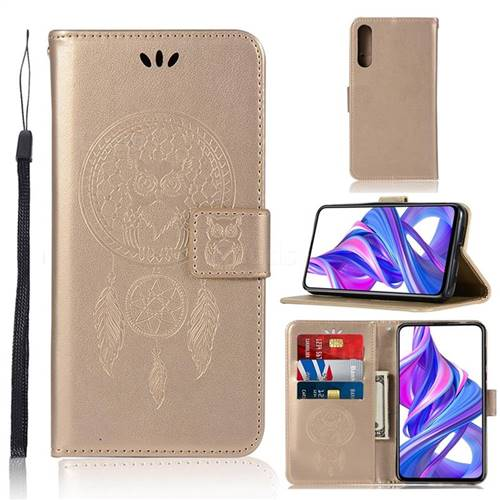 Intricate Embossing Owl Campanula Leather Wallet Case for Huawei Honor 9X Pro - Champagne