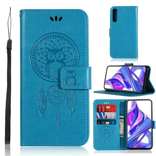 Intricate Embossing Owl Campanula Leather Wallet Case for Huawei Honor 9X Pro - Blue