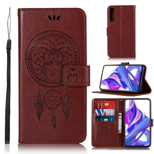 Intricate Embossing Owl Campanula Leather Wallet Case for Huawei Honor 9X Pro - Brown