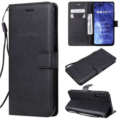 Retro Greek Classic Smooth PU Leather Wallet Phone Case for Huawei Honor 9X Pro - Black