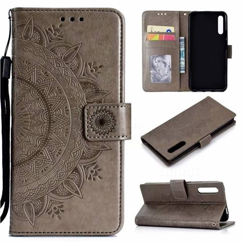 Intricate Embossing Datura Leather Wallet Case for Huawei Honor 9X Pro - Gray
