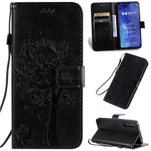 Embossing Butterfly Tree Leather Wallet Case for Huawei Honor 9X Pro - Black