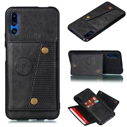 Retro Multifunction Card Slots Stand Leather Coated Phone Back Cover for Huawei Honor 9X Pro - Black