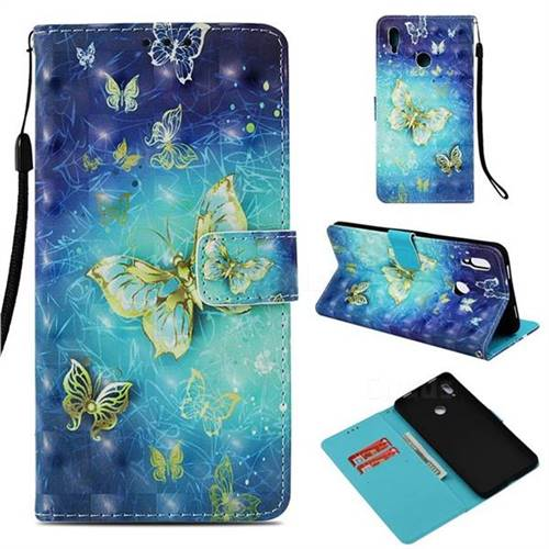 Gold Butterfly 3D Painted Leather Wallet Case for Huawei Honor Note 10
