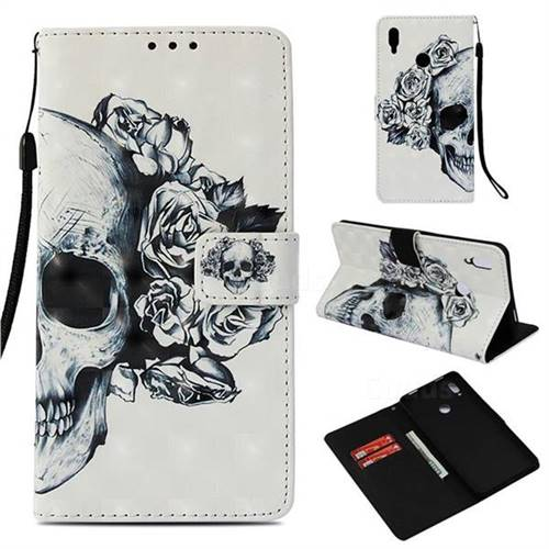 Skull Flower 3D Painted Leather Wallet Case for Huawei Honor Note 10