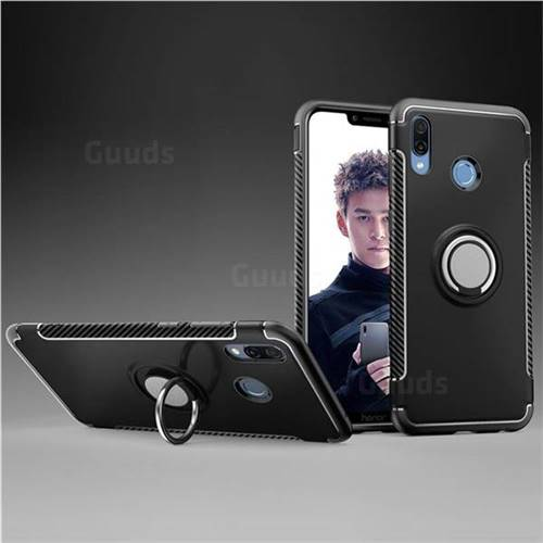 Armor Anti Drop Carbon PC + Silicon Invisible Ring Holder Phone Case for Huawei Honor Play(6.3 inch) - Black