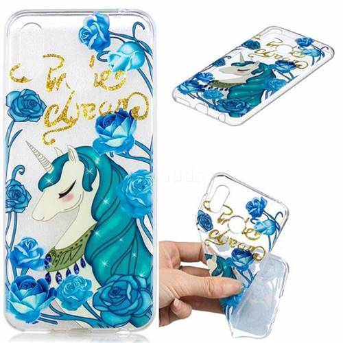 Blue Flower Unicorn Clear Varnish Soft Phone Back Cover for Huawei Honor Play(6.3 inch)