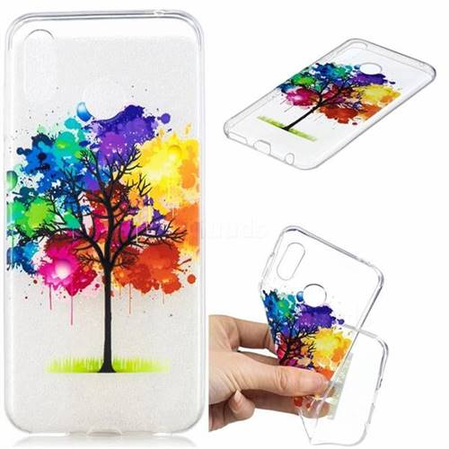 Oil Painting Tree Clear Varnish Soft Phone Back Cover for Huawei Honor Play(6.3 inch)