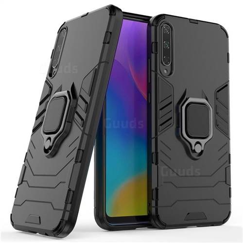 Black Panther Armor Metal Ring Grip Shockproof Dual Layer Rugged Hard Cover for Huawei Honor Play 3 - Black