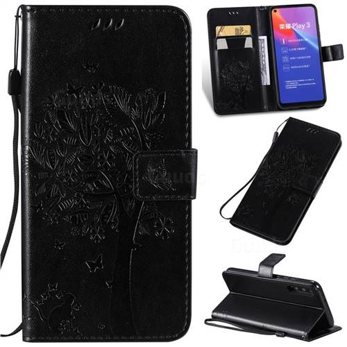 Embossing Butterfly Tree Leather Wallet Case for Huawei Honor Play 3 - Black
