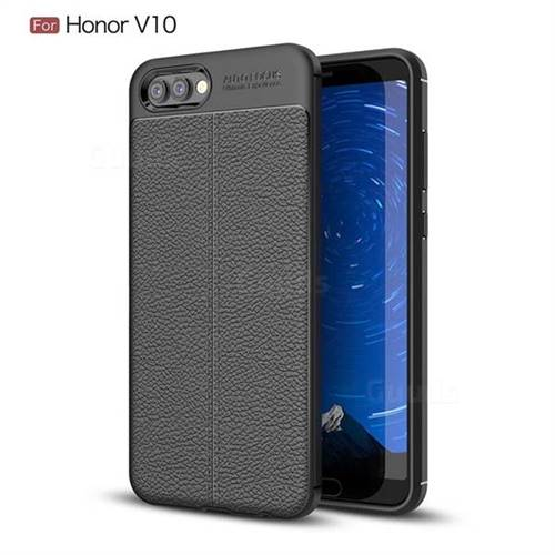 Luxury Auto Focus Litchi Texture Silicone TPU Back Cover for Huawei Honor View 10 (V10) - Black