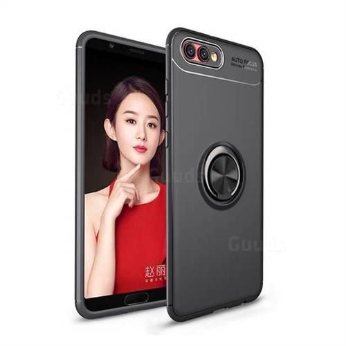 Auto Focus Invisible Ring Holder Soft Phone Case for Huawei Honor View 10 (V10) - Black