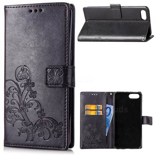 Embossing Imprint Four-Leaf Clover Leather Wallet Case for Huawei Honor View 10 (V10) - Black