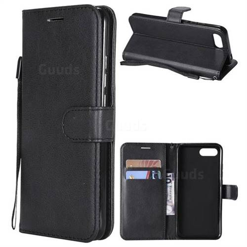 Retro Greek Classic Smooth PU Leather Wallet Phone Case for Huawei Honor View 10 (V10) - Black