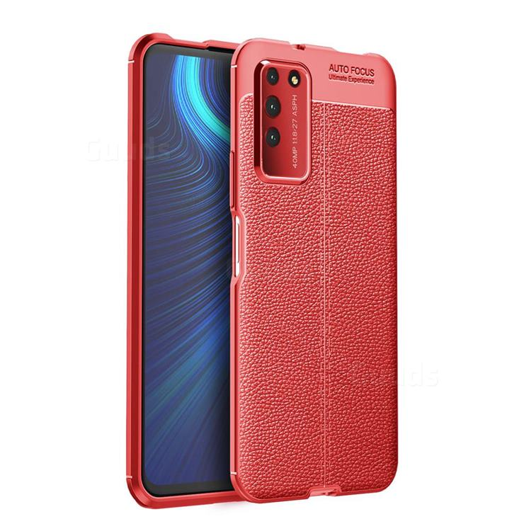 Luxury Auto Focus Litchi Texture Silicone TPU Back Cover for Huawei Honor X10 5G - Red