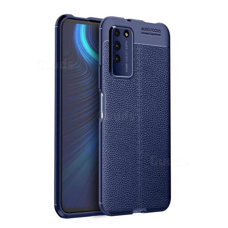 Luxury Auto Focus Litchi Texture Silicone TPU Back Cover for Huawei Honor X10 5G - Dark Blue