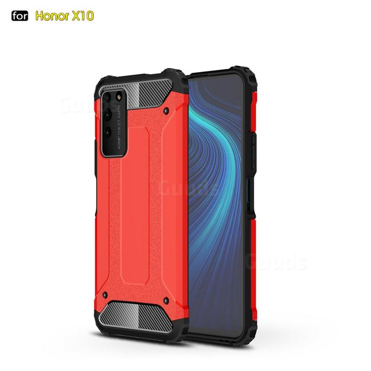King Kong Armor Premium Shockproof Dual Layer Rugged Hard Cover for Huawei Honor X10 5G - Big Red